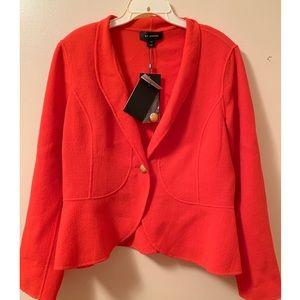NWT St. John reddish orange peplum style blazer